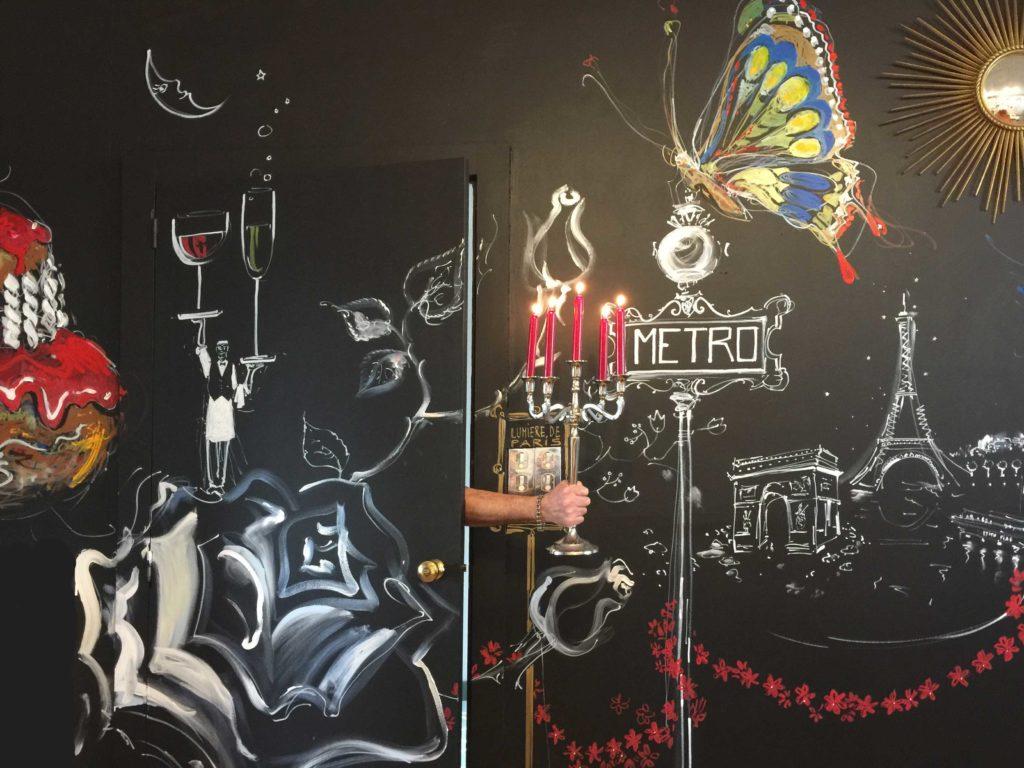 Fresque murale, détail. Lumières de Paris!.