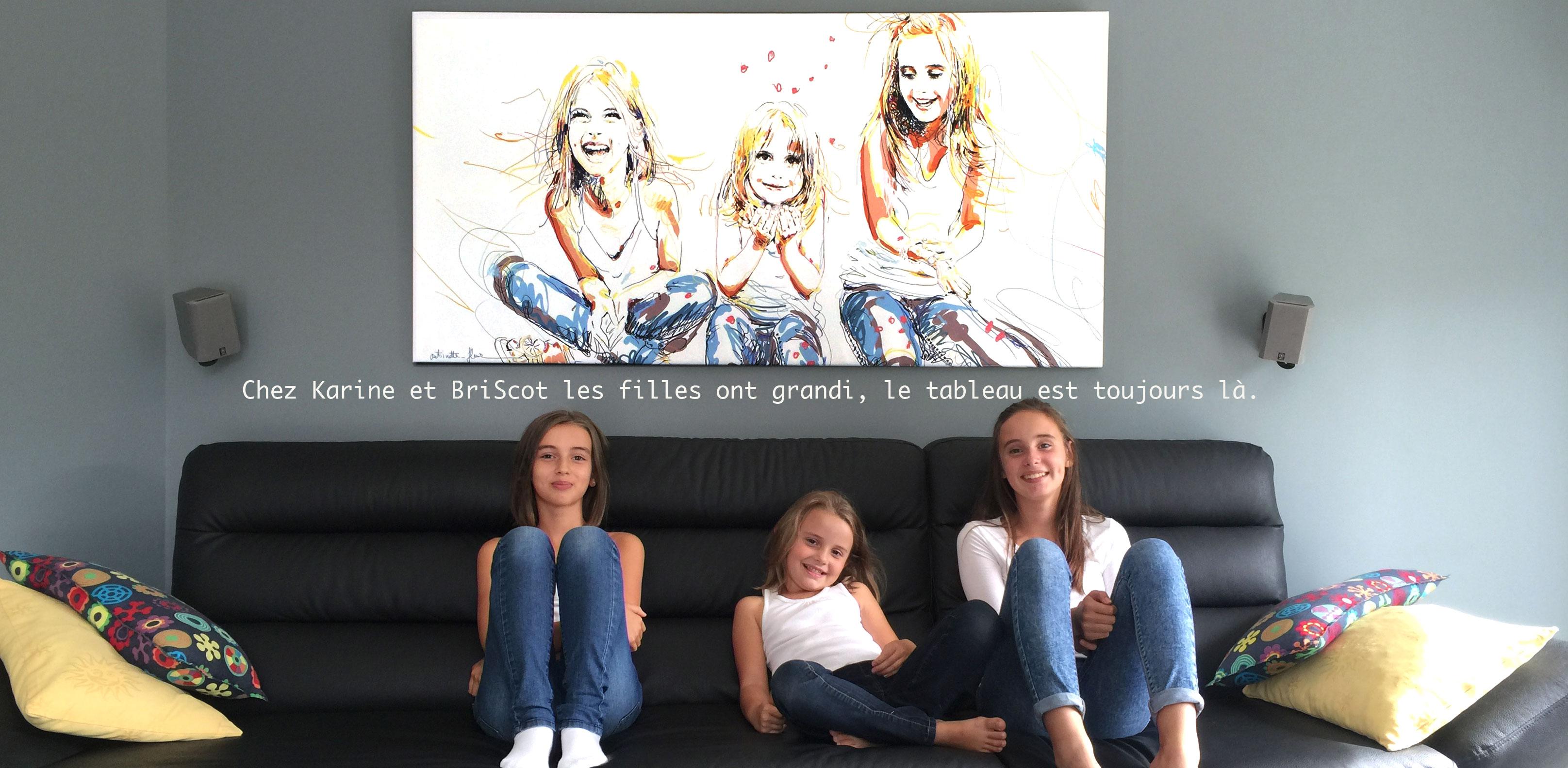 Portraits des 3 filles sur toiles.